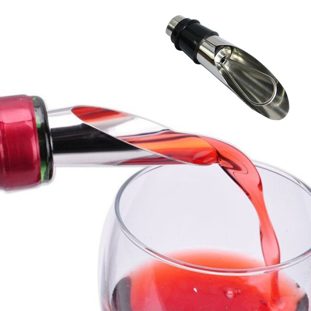 2pc Anti-overflow Wine Bottle Pour Spout Stopper Stainless Steel Cap