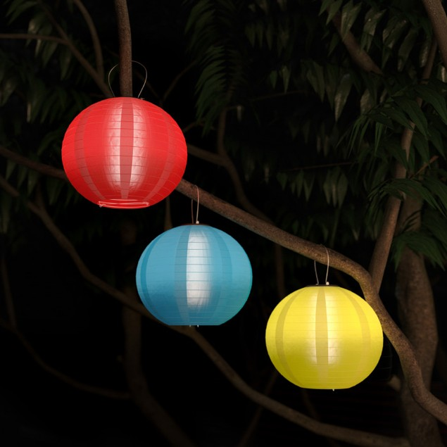 Chinese Lanterns-Hanging Fabric Lamps with Solar Powered LED  3 Pack