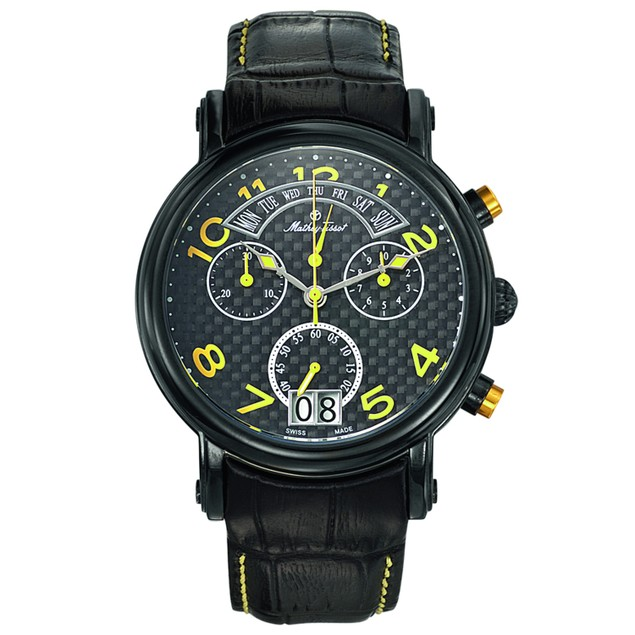 Mathey Tissot Men's Retrograde Chrono Black Dial Watch - H7030RSJ