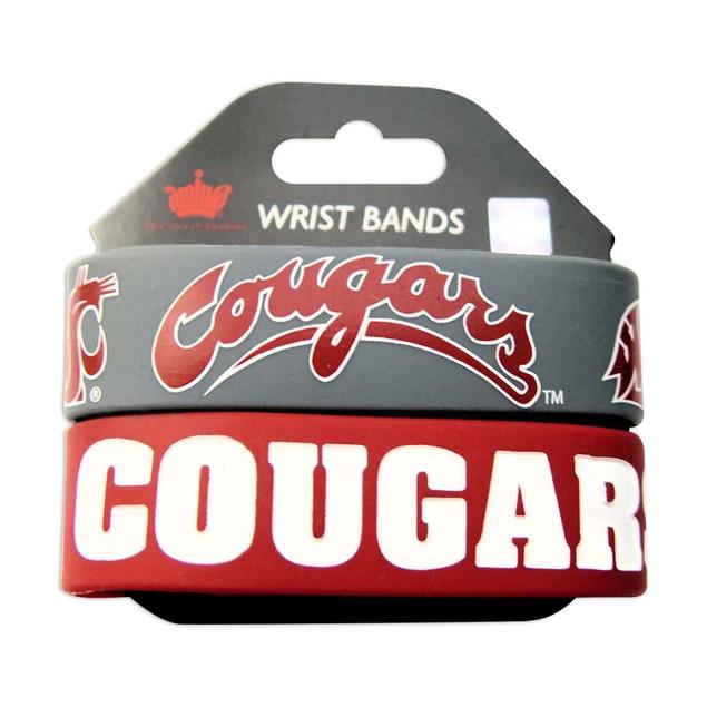 Washington State Cougars Rubber Wrist Band (Set of 2) NCAA