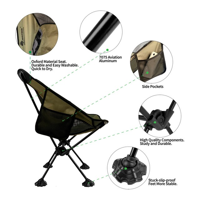 BIGTREE Travel Chair Side Pocket Super Compact Light Folding Camping Fishing Picnic Hiking Seat Companion Backpack Size Travel Bag Black