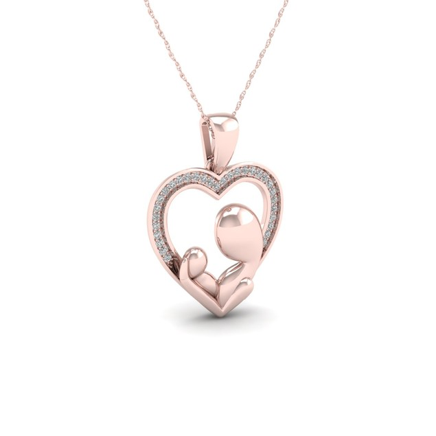 De Couer 10K 1/10ct TDW Diamond Heart Necklace (I-J, I2)