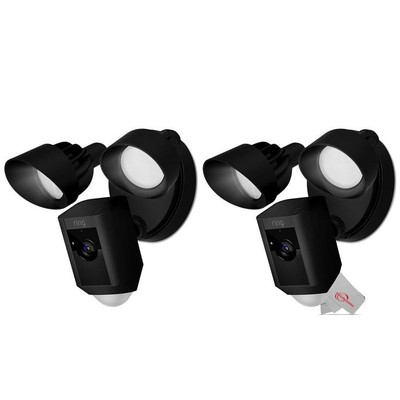 Two RING Floodlight Cam Wired Plus Motion-Activated 1080p HD Black