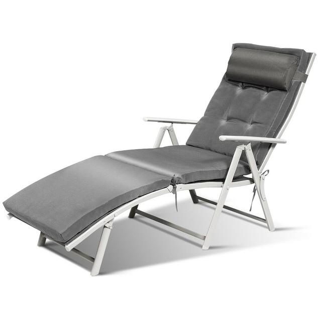 Costway Folding Chaise Lounge Chair w/Cushion