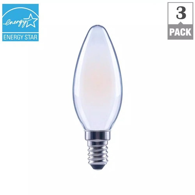 EcoSmart 60-Watt Equivalent B11 Dimmable Soft White Bulb, 3-Pack