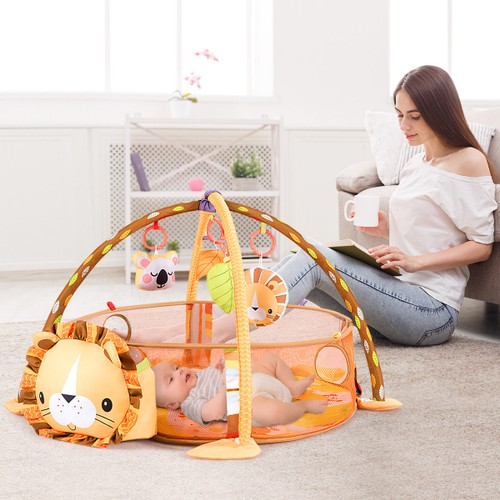 Costway 3 in 1 Cartoon Lion Baby Infant Activity Gym Play Mat w Hanging Toy