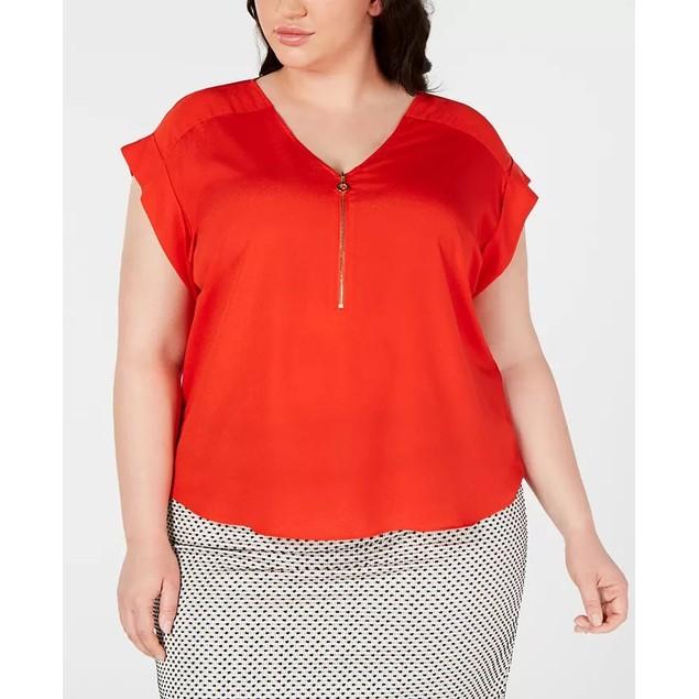Calvin Klein Women's Size Cap Sleeve Top Bright Red Size 2X