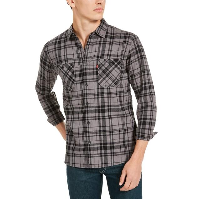 Levi's Men's Miguel Regular-Fit Plaid Flannel Shirt Black Size Small