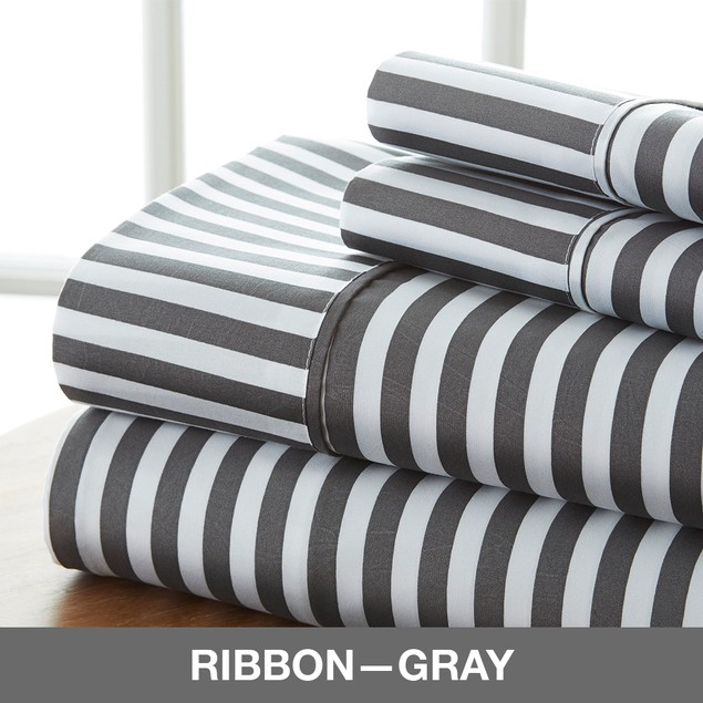 Becky Cameron Premium Ultra Soft Ribbon Pattern 4 Piece Bed Sheet Set