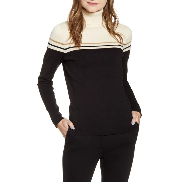 Anne Klein Women's Elbow Patch Turtleneck Sweater  Black Size X-Small