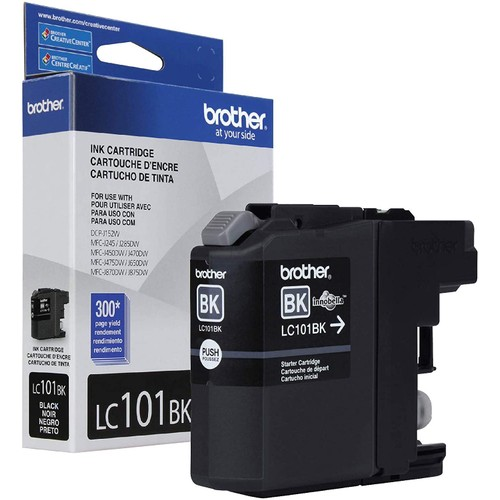 Brothers Brother Genuine Standard Yield Black Ink Cartridge, LC101BK, Replacement Black Ink, Page Yield Upto 300 Pages, LC101