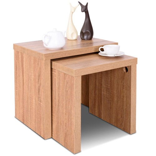Costway Set of 2 Nesting Coffee End Table Side Table Wood Color Living Room
