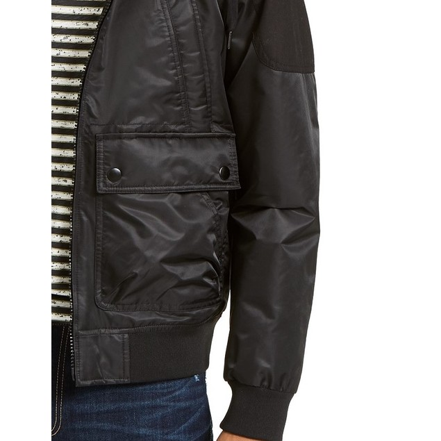 American Rag Men's Ross Hooded Bomber Jacket Black Size Small