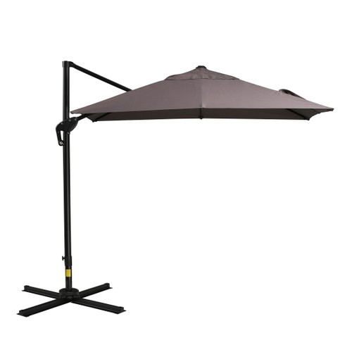 8x8ft Square Patio Offset Cantilever Umbrella 360° Rotation w/ Cross Brown