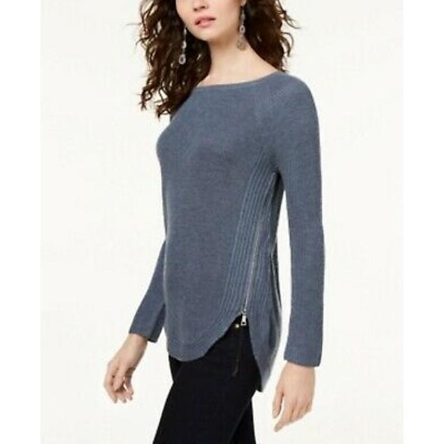 INC  Women's Waffle Knit Side Zip Tunic Sweater Gray Size Petite Small