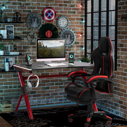 Ergonomic Game Room Furniture Racing Style Design Home Fun Workstation, Red