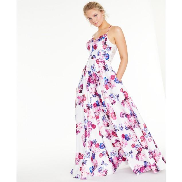City Studios Juniors' Floral-Print Lace Back Gown White Size 1