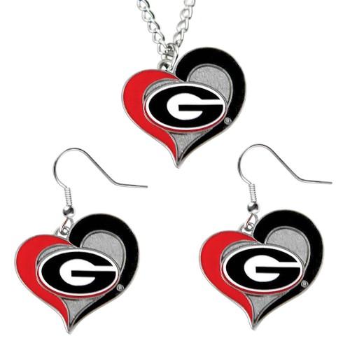 Georgia Bulldogs Swirl Heart Dangle Logo Necklace and Earring
