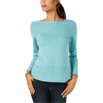 Karen Scott Women's Cotton Boat-Neck Sweater Blue Size Small