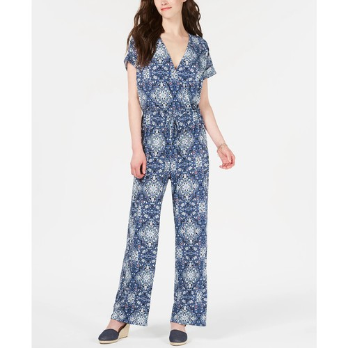 Style & Co Women's V-Neck Printed Knit Jumpsuit Dark Blue Size Medium