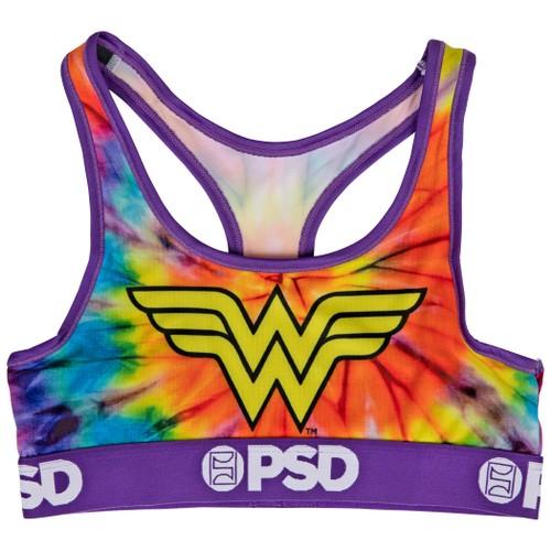 DC Wonder Woman Symbol Tie Dye Microfiber Blend Sports Bra