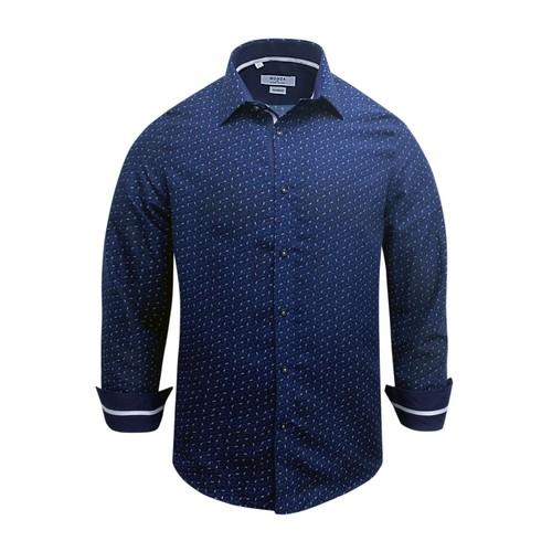 Monza Modern Fit Long Sleeve Navy Polka Dot Dress Shirt