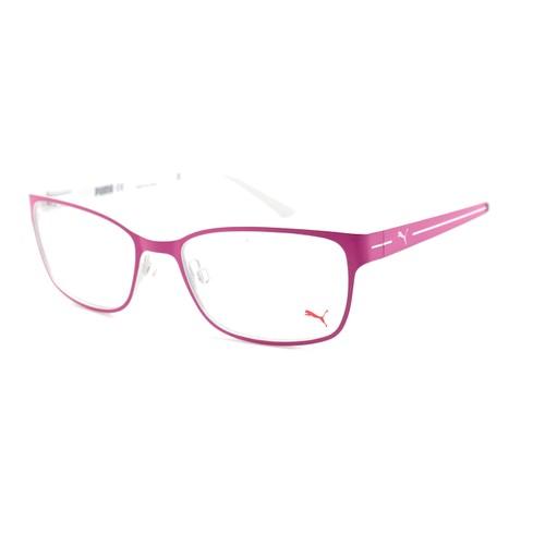 Puma Eyeglasses Women Fuchsia/White Full Rim Rectangle 53 17 140 PE0015O 002