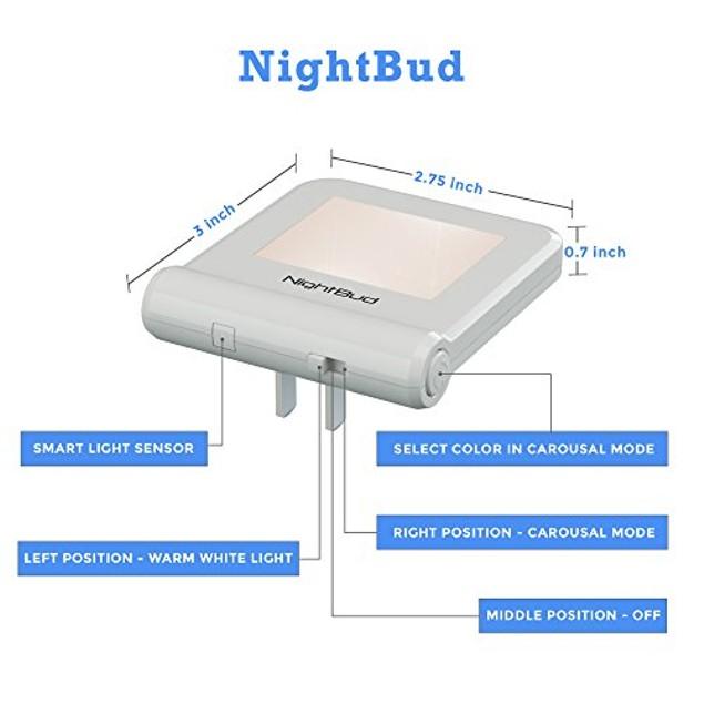 Slim Modern LED Plug in Night Light with Light Sensor & 16 Colors (2 Pack)