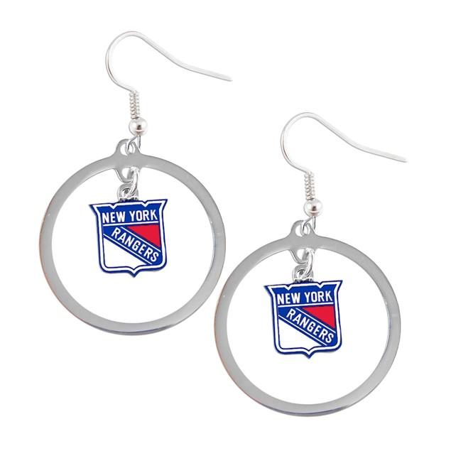 New York Rangers Hoop Logo Earring Set NHL Charm Gift