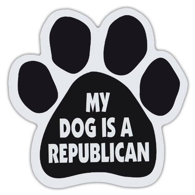 "My Dog Is A Republican Paw Magnet Dog Cat 5.5"" x 5.5"" Shaped Puppy Politics"