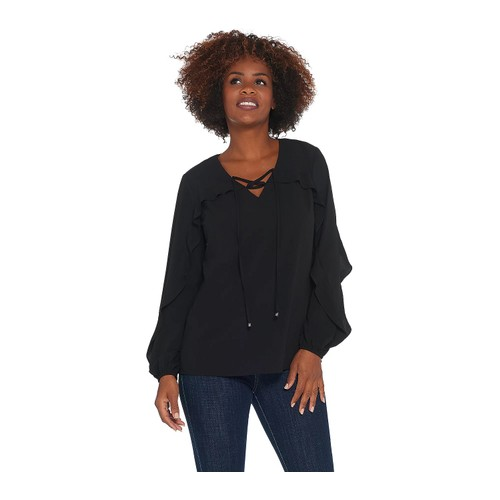Belle by Kim Gravel Woven Tie Front Ruffle V-Neckline Blouse, X-Large,