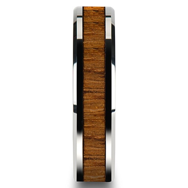 Creative Wide Band Wood Titanium Steel Ring