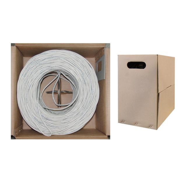 Bulk Cat6 White Ethernet Cable, Stranded, UTP 1000 foot