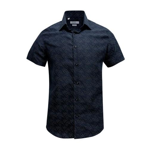 Monza Modern Fit Short Sleeve Black Twill Floral Dress Shirt