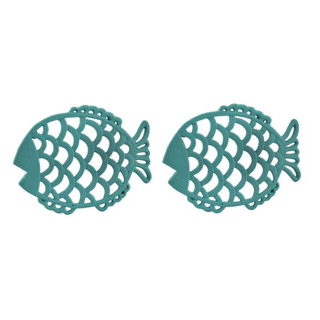 2 Piece Tropical Turquoise Blue Cast Iron Filigree Trivets