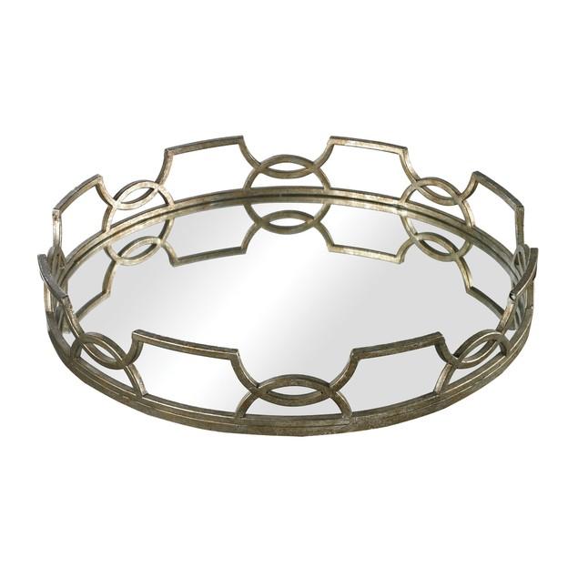 "Sterling Iron Scroll Mirrored Tray - 3""L X 16""W X 16""H - Mccomish Bronze"