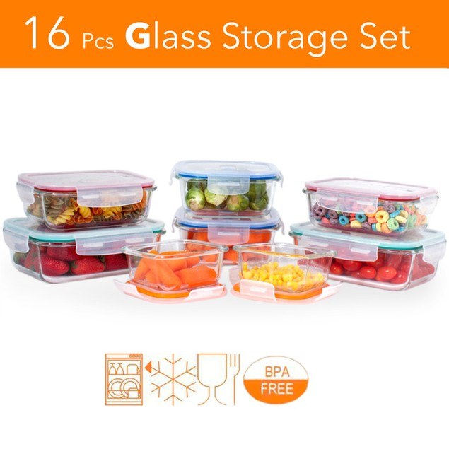 16 pcs. Glass Meal Prep Storage Container Set W/ Snap ...