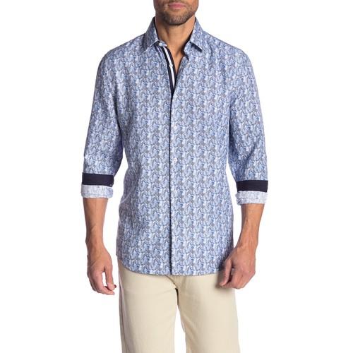 Rosso Milano Modern Fit Long Sleeve Blue Herringbone Dress Shirt