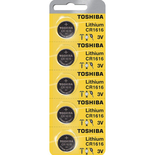 Toshiba CR1616 3-Volt Lithium Coin Cell Batteries (5 Batteries)