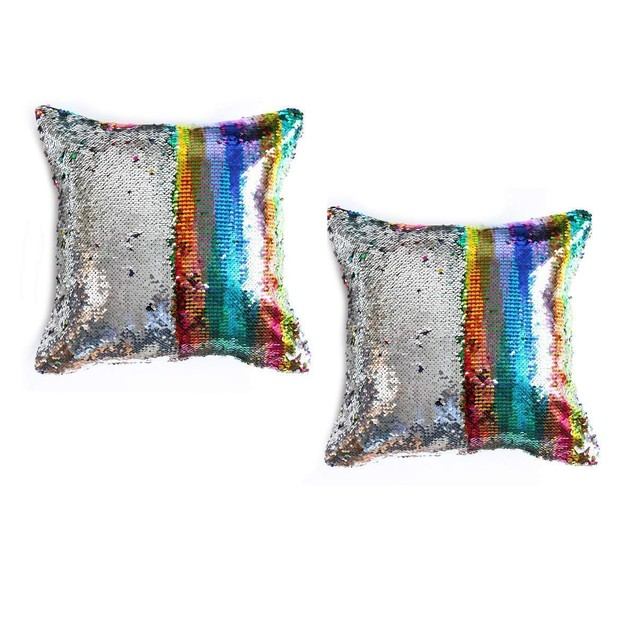 STAEMENT PIECE Mermaid Pillow Reversible Sparkly Accent Sequin 2 Pack