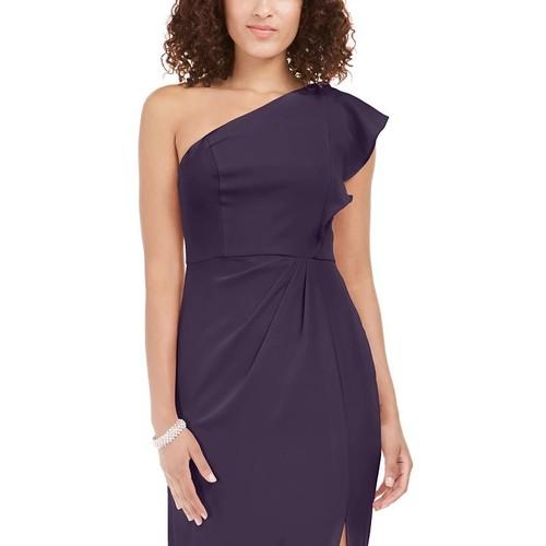 Adrianna Papell Women's Ruffled One-Shoulder Gown Dark Purple Size 14