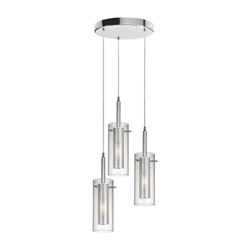 Dainolite 3 Light Round Pendant,Polished Chrome, Clear Glass/Steel Mesh