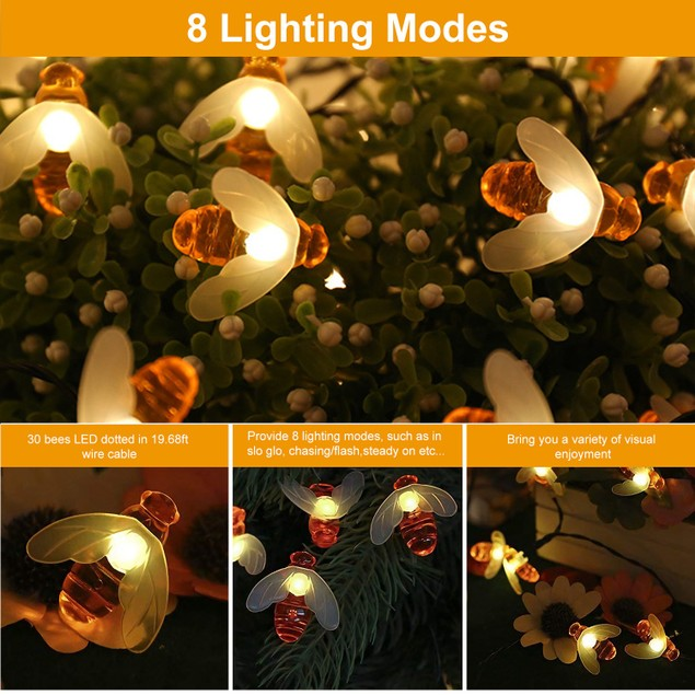 Solar String Bee Lights 30 Honeybees LED 8 Lighting Modes