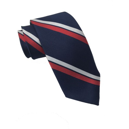 Tommy Hilfiger Men's Classic Red Stripe Silk Ties Blue Size Regular