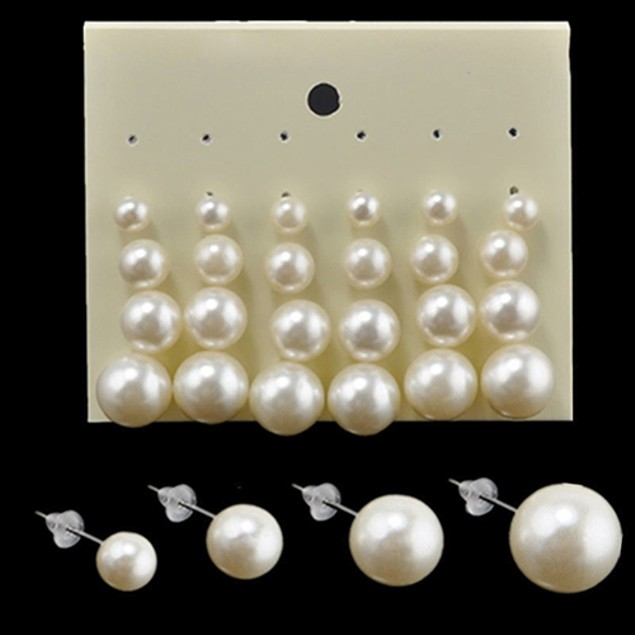 12 Pairs Women Fashion Party Faux Pearl Round Earrings