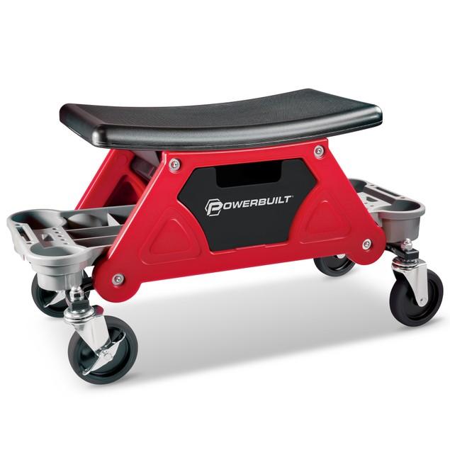 Powerbuilt Heavy Duty Rolling Work Seat with Storage Trays - 240036