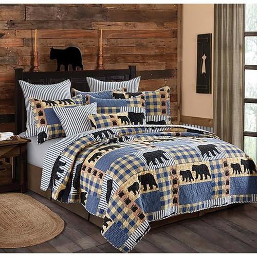 Spura Home Pictorial Black Bear Plaid Printed Novelty Quilt Set