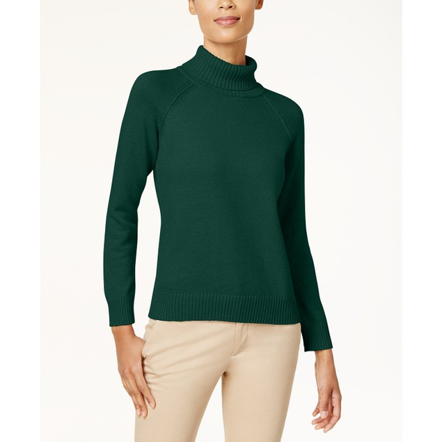 Karen Scott Women's Cotton Turtleneck Sweater Green Size Medium