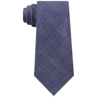 Michael Kors Men's Grayish Blue Plaid Tectured Neck Tie Gray Size Regular