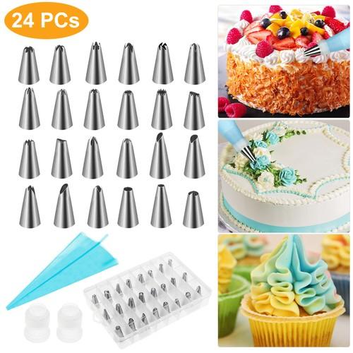 24Pcs Cake Decorating Supplies kit Stainless Steel DIY Baking Supplies Icing Tips